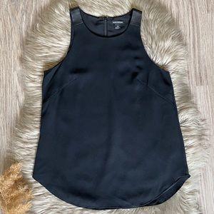 Club Monaco Sleeveless Blouse Faux Leather Detail